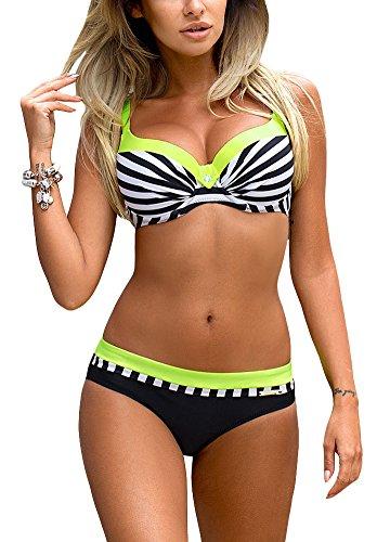 Romacci Damen Bikini Set Damen Bikini Set Bügel Push up Striped Badebekleidung Zweiteilige Strand Badeanzug, Grün, S