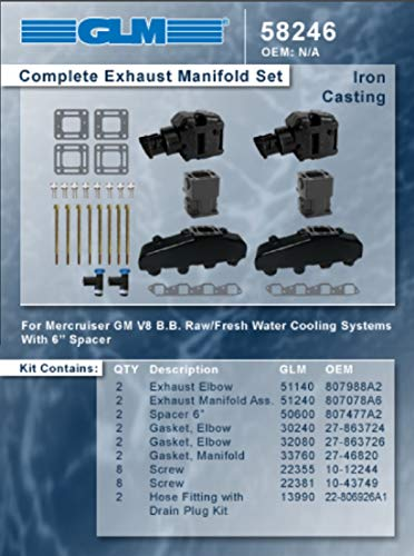 GLM Exhaust Manifold KIT compatible with Mercruiser Chevy Marine Alph Bravo EFI 454 502 8.2L with 4' Risers & 6' Spacers
