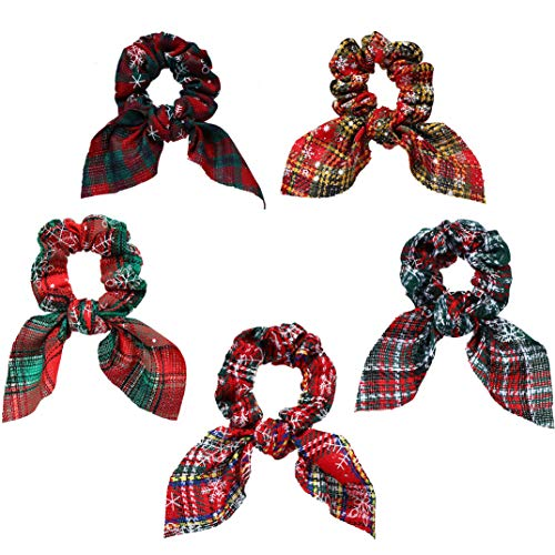 Encci 5 Pack Big Christmas Hair Scrunchies Christmas Hair Accessories Fabric Snowflake Ponytail Holder Elastic Hair Ties Hair Scrunchies with Bow Hair Accessories for Women and Girls Dance