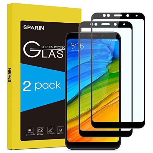 SPARIN [2-मोहरे] Xiaomi Redmi 5 Plus के साथ टेम्पर्ड ग्लास फिल्म संगत, Xiaomi Redmi 5 Plus के लिए सुरक्षात्मक फिल्म [पूर्ण कवर] [अल्ट्रा रेसिस्टेंट] [9H कठोरता] -ब्लैक