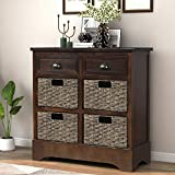 P PURLOVE Storage Cabinet Retro Style Storage Unit with 2 Drawers and 4 Baskets for Home Entryway Living Room (Espresso)