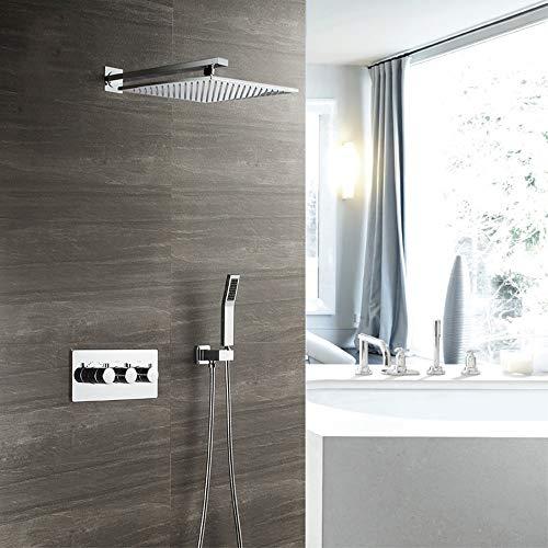 XLTT Juego de ducha termostática cuadrada de 30 cm con grifo de ducha de cobre en la parte superior del sistema de ducha con 2 modos, color plateado