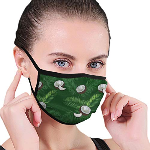 Adult Kids Print Warm Washable Reusable Mouth -Hawaiian Print Coconut Palm Leaves Cover Neck Gaiter Tube Travel Nose Warmer