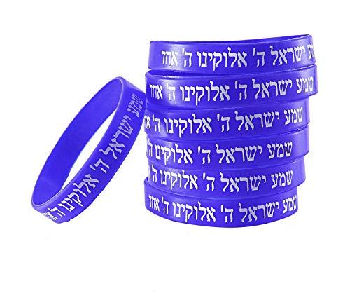 7 Bracelets BLEU CHEMA ISRAËL – Kabbale juive hébraïque bandes caoutchouc