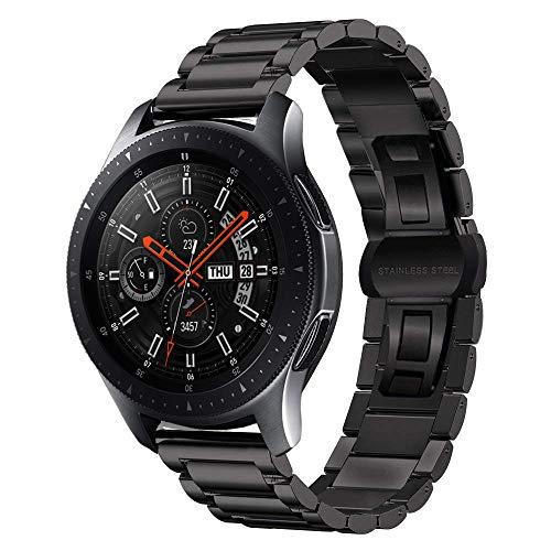 MroTech Correa Galaxy Watch 46mm de Acero Inoxidable Reloj Banda Hebilla de Metal Compatible para Samsung Gear S3 Frontier/Amazfit Stratos 2/ Huawei Watch GT 22mm Pulseras de Repuesto - Negro