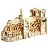 Simulación Notre Dame catedral Paris edificio modelo kit 3D rompecabezas de madera artesanía decoración souvenir para niños hijos adultos regalos