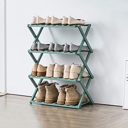 4-nivel Estante Plegable De Zapatos De Bambú,Estante De Almacenamiento De Zapatos De Pie Libre,Portátil Instalación Gratuita Almacenamiento De Zapatos Para Balcón,Baño-Verde 50x25x68cm(20x10x27inch)