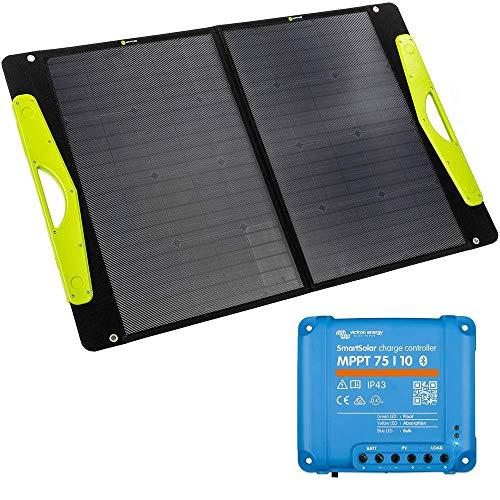 WATTSTUNDE SolarBuddy 100W Solarkoffer - Hardcover Solartasche WS100SB - faltbares Solarmodul direkt mit USB Anschluss am Modul (100W mit 75/10)