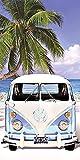 Volkswagen Badetuch VW Bulli T1 Blau 75x150cm 100prozent Baumwolle in Veloursqualität Camper-Van Bus Oldtimer Strandlaken Strandtuch Handtuch Badelaken Duschtuch Saunatuch Wörthersee Beach Retro Motiv 048