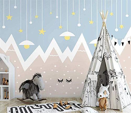 Mural geométrico montaña cielo estrellado habitación de los niños fondo pared sala de estar dormitorio decoración papel tapiz-250X175cm