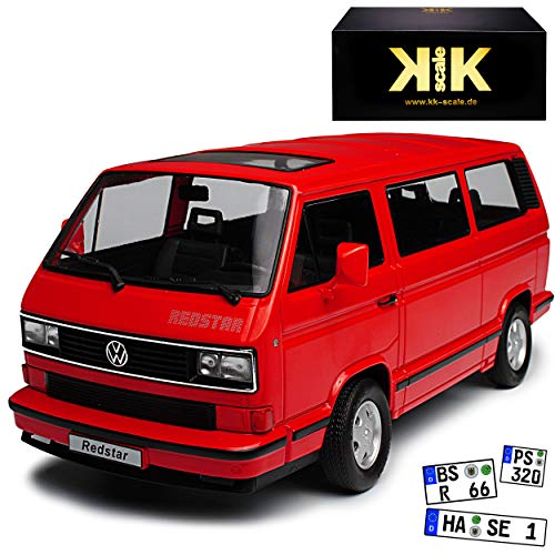 KK-Scale Volkwagen T3 Bus Multivan Red Star Rot Transporter 1979-1992 limitiert 1 von 500 Stück 1/18 Modell Auto mit individiuellem Wunschkennzeichen
