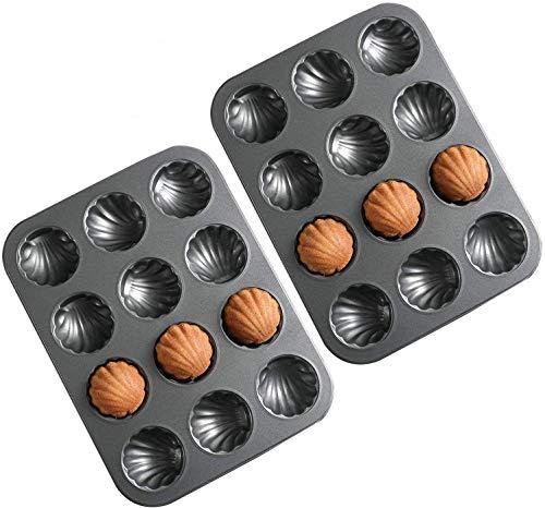 Mold Cake Pan for Madeleine, ZEENEEK 12-Cavity Non-Stick Spherical Shell Madeline Bakeware for Oven Baking - 2 Pack