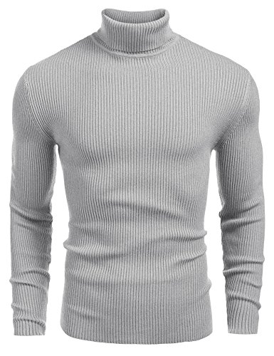 Coofandy Mens Ribbed Slim Fit Knitted Pullover Turtleneck Sweater Grey Small