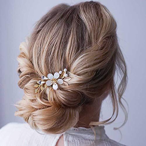 Edary Braut Blume Hochzeit Haarkämme Gold Braut Kopfschmuck Blatt Haarspangen Strass Haarschmuck für Frauen und Mädchen