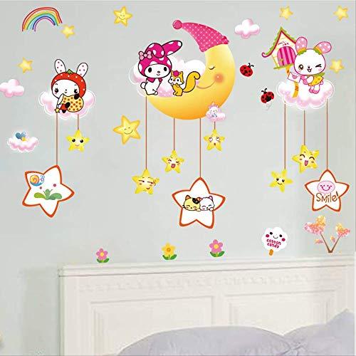 Muur Plakken Kleuterschool Kinderkamer Woonkamer Slaapkamer Cartoon Maan Konijn Decoratie Behang