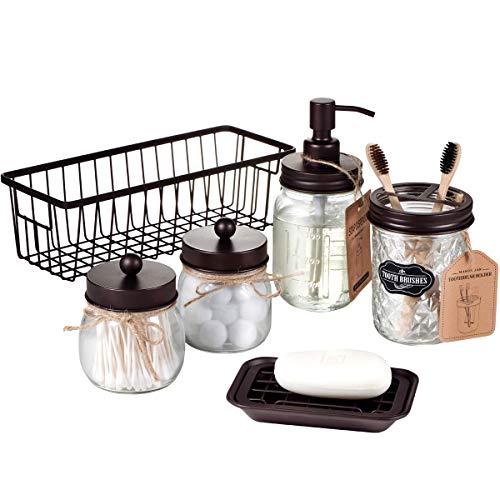 Premium Mason Jar Bathroom Accessories Set (6PCS) - Lotion Soap Dispenser,Toothbrush Holder,2 Apothecary Jars(Qtip Holder),Soap Dish,Metal Wire Storage Organizer Basket-Rustic Farmhouse Decor (Bronze)