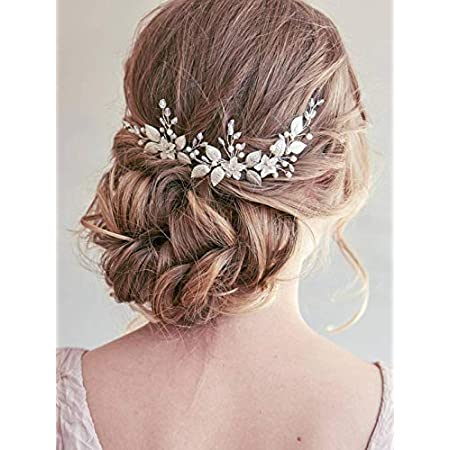 Beauty Shopping Unsutuo Bride Flower Wedding Headband Silver Crystal Pearl Hair