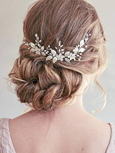 Beauty Shopping Unsutuo Bride Flower Wedding Headband Silver Crystal Pearl Hair Vine Bridal Headpiece