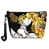ZFRXIGN Elephant Sunflower Makeup Bag for Women Girls Cosmetic Clutch Handy Pouch Small Portable Waterproof Pu Leather Purse Baby Animal