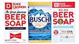 Duke Cannon Supply Co. Big Beer Soap for Men, Sampler Set of 3 Bars, 10oz, with Busch Beer (Sandalwood Scent), Budweiser (Cedarwood Scent), and Deschutes Fresh Squeezed IPA (Woodsy, Citrus Scent)