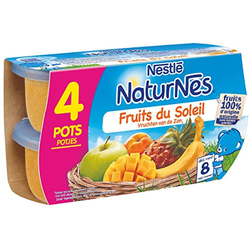 NESTLE NATURNES Compotes Bébé Fruits du soleil -Pack de 4 -Dès 8 mois