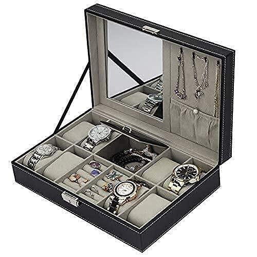 erddcbb Schmuck Organizer Display Box Uhren Kollektion Aufbewahrungsbox Uhr Schmuckbox 8 Bit Uhr 2 Gitter Ring Multifunktions-Aufbewahrungsbox Uhrenbox