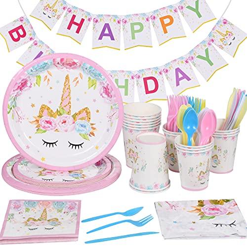 114 Piezas Unicornio Cumpleaños Fiesta Decoracion,Set de Vajilla Unicornio,vajilla de Fiesta de Unicornio,Vajilla de Unicornio Juego de Platos Desechables,Ideal para Niñas y Infantiles