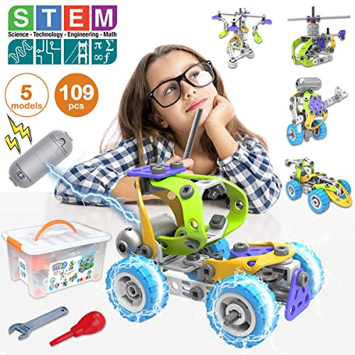 AceLife STEM Toys Kit 10 in 1 Motorized Educational Construction Engineering Building Blocks Toys Set for 6 7 8 9 10+ Year Old Boys & Girls,Best Birthday Christmas Toy Gifts for Kids