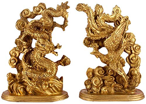 FTFTO Equipo Vivo Bronce Dragón Phoenix Estatua Feng Shui Ying Yang Armonía Escultura Matrimonio Suerte Talismán Regalo de Boda Decoración para el hogar Azul