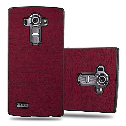 Cadorabo Custodia per LG G4 / G4 Plus in Woody Rosso - Rigida Cover Protettiva Sottile con Bordo Protezione - Back Hard Case Ultra Slim Bumper Antiurto Guscio Plastica