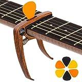 Gitarre Kapodaster mit 6 Plektrums, KQJ Holzmaserung Gitarre Capo Capodaster Kapo für Akustikgitarre, E-Gitarre, Westerngitarre, Bass, Ukulele, Mandoline, Banjo