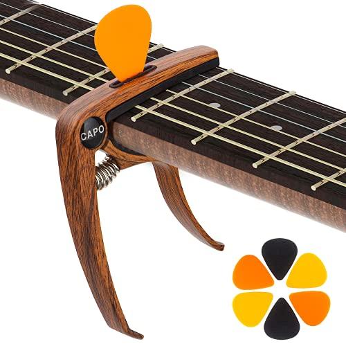 KQJ Cejilla de Guitarra con 6 Púas Guitarra, [Grano de Madera] Capo...