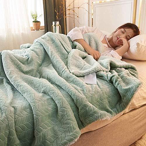 Manta de Lana Gruesa Manta cálida de Invierno hogar edredón súper Suave Manta sólida Suministros de Cama Doble A 200X230CM Fantastic