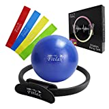 Fitlax Pilates Ring Set - 12 Inch Fitness Magic Circle, 4 Resistance Loop Bands, 9 Inch Pilates Mini Ball. Full Body Toning Exercise Equipment Set with Free Workouts Guide
