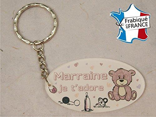 Porte Clef - Marraine je t'adore (Cadeau Parrain Marraine Baptême Communion Noël, annonce et demande Marraine)