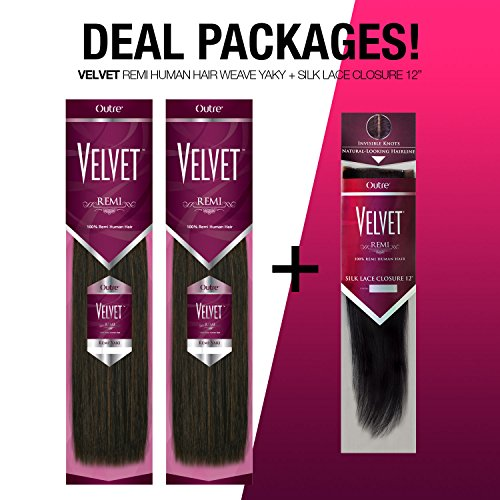 Outre Velvet Remi Human Hair Weave Yaki & Silk Lace Closure Deal Package (12'+14'+Closure 12', 1B)