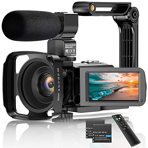 """Video Camera Camcorder 2.7K Ultra HD 36MP Vlogging Camera for YouTube IR Night Vision LCD Touch Screen 16X Digital Zoom 3.0"""" with Microphone Handheld Stabilizer Remote Control"""