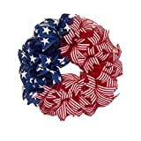 American Wreath for Front Door, Patriotic Independence Day Wreaths, 4th of July Wreath Memorial Day Wreath, Hanging Wreaths Red White and Blue Wreaths for Flag Day Veterans Day Garden Home Decor
