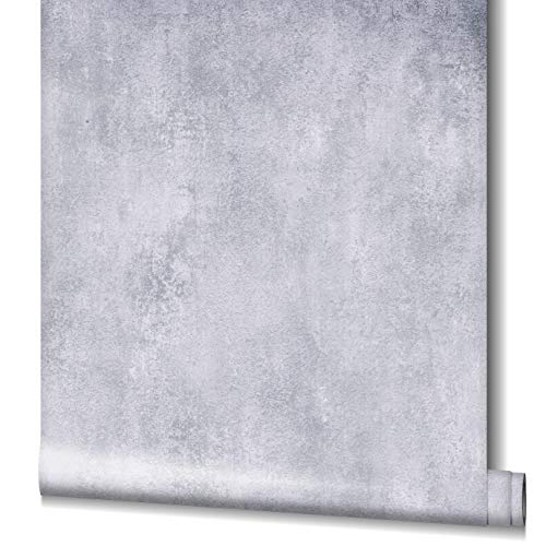 Tapete Hellgrau Betonoptik HAILEY für Wohnzimmer, Schlafzimmer oder Küche Made in Germany 10,05m x 0,53m Premium Vliestapete 82246