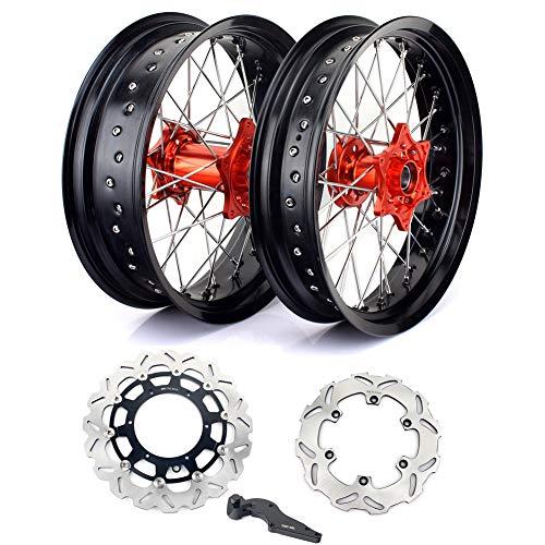TARAZON 17' x3.5'/4.5'' Supermoto Llantas Wheels Radsatz Discos de Freno + Adaptador para KTM EXC 530 10-11/SX 125 150 250 SXF 450 13-17/SXF 505 09