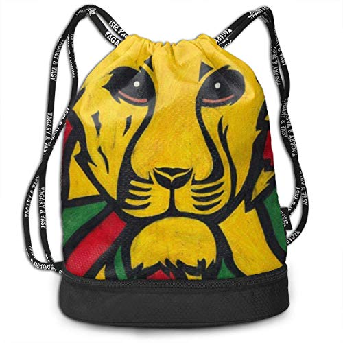 zhangyuB The Lion of Judah Rasta Jamaica Reggae Logo Bolsa con cordón Traveling School Shoulder Backpack Large Capacity Beam Bag, Home Travel Storage Use Gift For Men & Women, Girls Boys