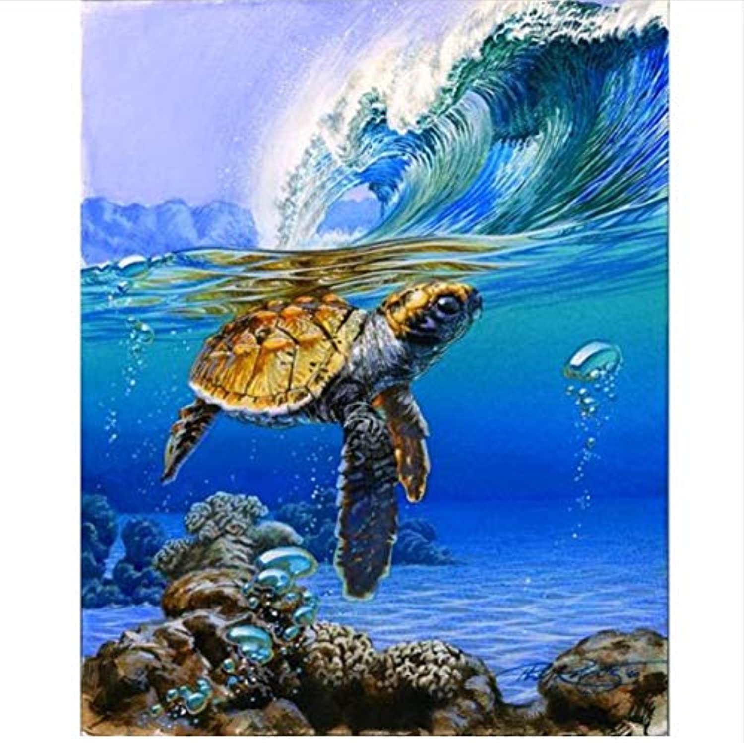 CAYYOU DIY Digital Painting By Numbers Sea Turtle Oil Painting Mural Kits coloring Wall Art Picture Gift  Framed  50x60cm