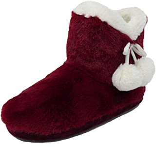 Dunlop Ladies Famous Slipper Boots, Soft Furry Upper Warm Lining Pom Poms
