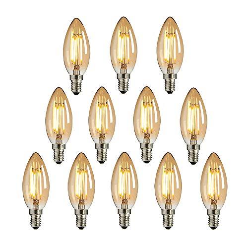LED Edison Glühbirne E14, NUODIFAN 12x Vintage Kleine LED Kerze Birne Antike Lampe (Warmweiß 4W 2700K Amber Glas) Dekorative Retro Glühbirne Ideal für Kronleuchter Hänge Kristalllampe
