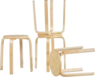 HAPPYGRILL 4-Piece Wood Stools Set Stackable Wood Bar Stool Seat, Round Backless Chairs for Room Patio Garden Kitchen