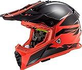 LS2 - Casco de Moto Cross Fast EVO Roar Negro Mate Rojo, XS