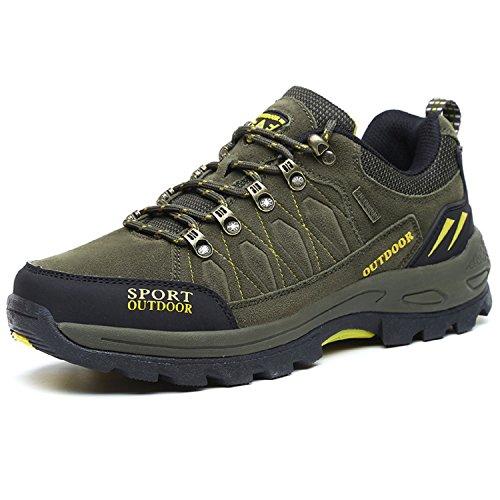 NEOKER Wanderschuhe Trekking Schuhe Herren Sports Outdoor Hiking Sneaker Armee Grün,Gr.-EU 42