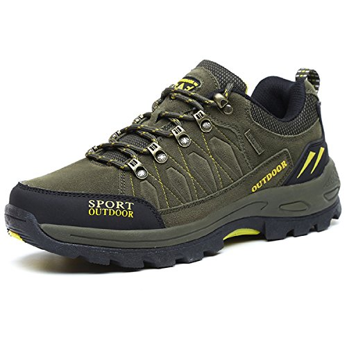NEOKER Wanderschuhe Trekking Schuhe Herren Damen Sports Outdoor Hiking Sneaker Armee Grün 44