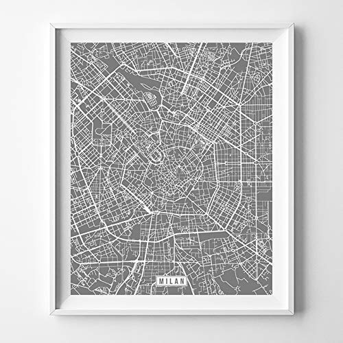 Milan Italy City Street Map Wall Art Home Decor Poster Urban City Hometown Road Print - 70 Color Choices - Unframed