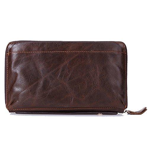 Gendi maschile portafoglio marrone della pelle bovina uomini Pochette Vintage 100% vera pelle frizione sacchetto di mano doppia cerniera borsa per Maschio (caffè)